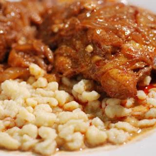 Hungarian Chicken Paprikash with Dumplings (Csirke-Paprikas & Nokedli).
