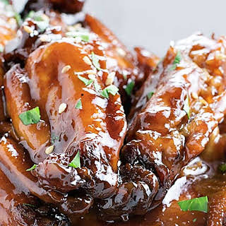 Crock Pot Sticky Chicken Wings.
