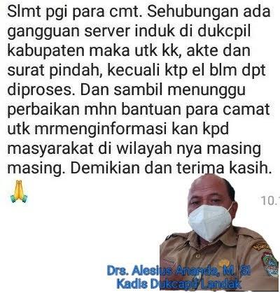 Adminduk Kabupaten Landak Terhambat, Server Ganguan