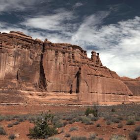 Arches National Park by Jud Joyce - Landscapes Deserts ( clouds, nationa parks, desert, arches national park, utah, landscape, canyons )