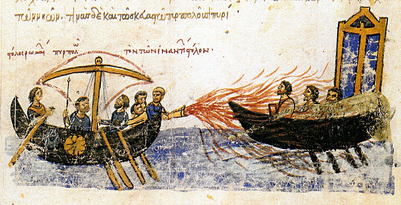 Illustration of a boat with a flame-thrower-like weapon spraying flames onto an enemy ship.