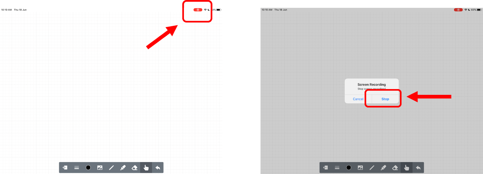 Steps to stop recording online whiteboard lesson