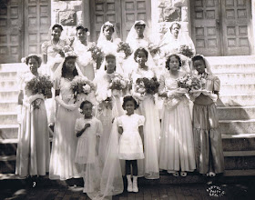 Photo: 1945 May Procession Court_Sally Shorter_ May Queen_St Cyprian Parish