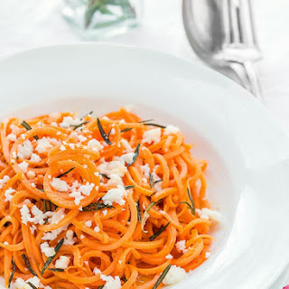 Spiralized Sweet Potato Pasta with Rosemary Butter and Queso Fresco Recipe