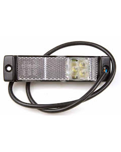 Positionslykta 24V LED vit med reflex 130x32 mm