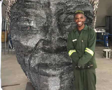 WATCH | KZN artist crafts Mandela's face out of 4,000 scrap pipes
