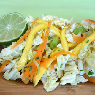 Napa Cabbage and Mango Slaw with Lime Ginger Dressing