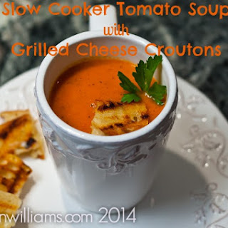 Slow Cooker Tomato Soup with Grilled Cheese Croutons.