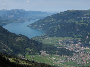 Photo: Interlaken lies right below us, with one of its lakes, the Thunersee.
