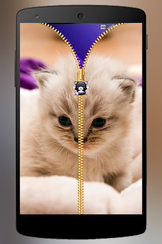 android Lovely Cat Zipper Lock Screenshot 3