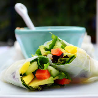 Red Pepper + Mango Summer Rolls with Spicy Peanut Sauce.