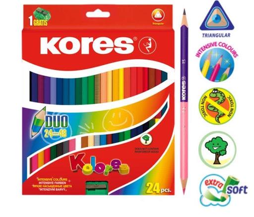 Colores Kores Duotriangulares + Sacapuntas 24 Und