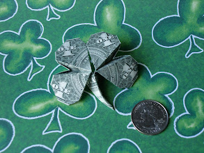 Photo: Model: Four-Leaf Clover;  Creator: Jodi Fukumoto;  Folder: William Sattler;  1 dollar;  Publication: The Guide To American Money Folds (Jodi Fukumoto) ISBN 0-93154-870-5