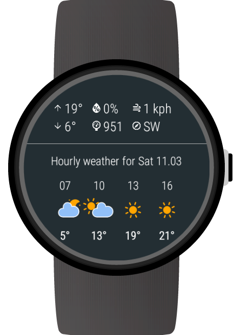 Weather for Wear OS (Android Wear) screenshots