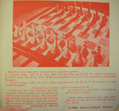 Photo: Advert from Chess No.472 Dec.1964 This appears to be a better photo angle of the same Red & White ivory set as is mentioned in previous photo's. The testmonial is also from the same individual. As mentioned by Guy in his comment , I cannot recall having seen any of these sets either - yet they were clearly being sold over quite a lengthy period: perhaps someone has one?