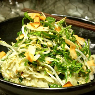 Green Curry Crab Noodles with Sprout & Coconut Salad Recipe