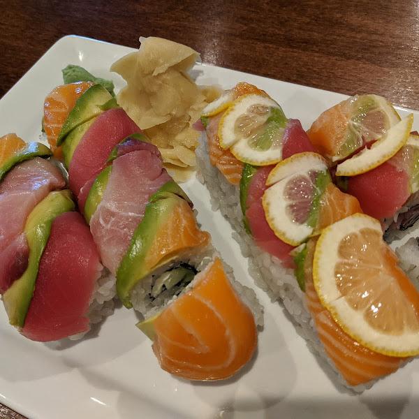 rainbow roll and citrus rainbow roll