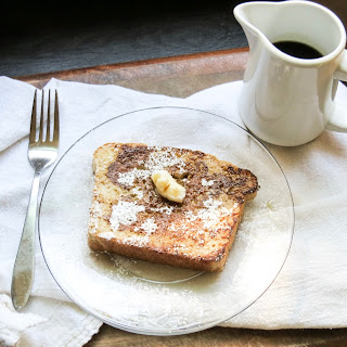 Brown Sugar Cinnamon French Toast with Maple Almond Syrup.
