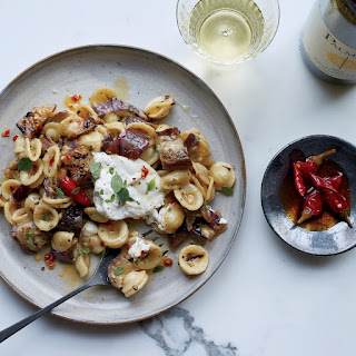 Pasta with Marinated Grilled Eggplant, Burrata and Chiles.
