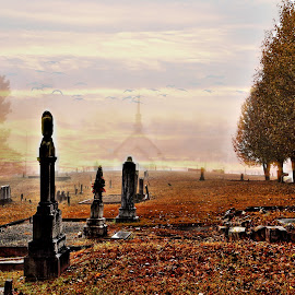 Churchyard by JEFFREY LORBER - Digital Art Places ( tombstone, death, grave, grave stone, grave yard, dead, lorberphoto, cemetery )