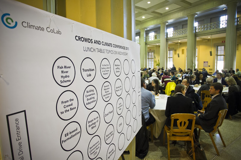 Photo: Community lunch with table discussion topics.  6 Nov. 2013, Cambridge, MA - The MIT Center for Collective Intelligence convenes its Climate CoLab conference at MIT.  Photo by Dominick Reuter