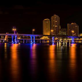 Miami Reflections by Ken Wagner - City,  Street & Park  Skylines ( skyline, miami, biscayne bay, nikon, nightscape,  )