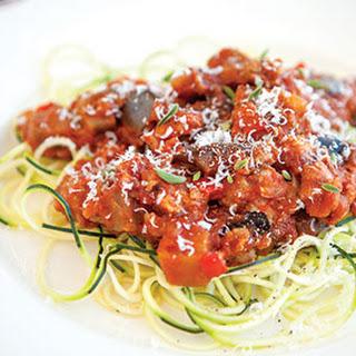 Zucchini Spaghetti with Eggplant Chicken Sauce
