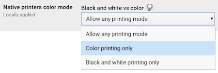Native printers color mode setting in Admin console