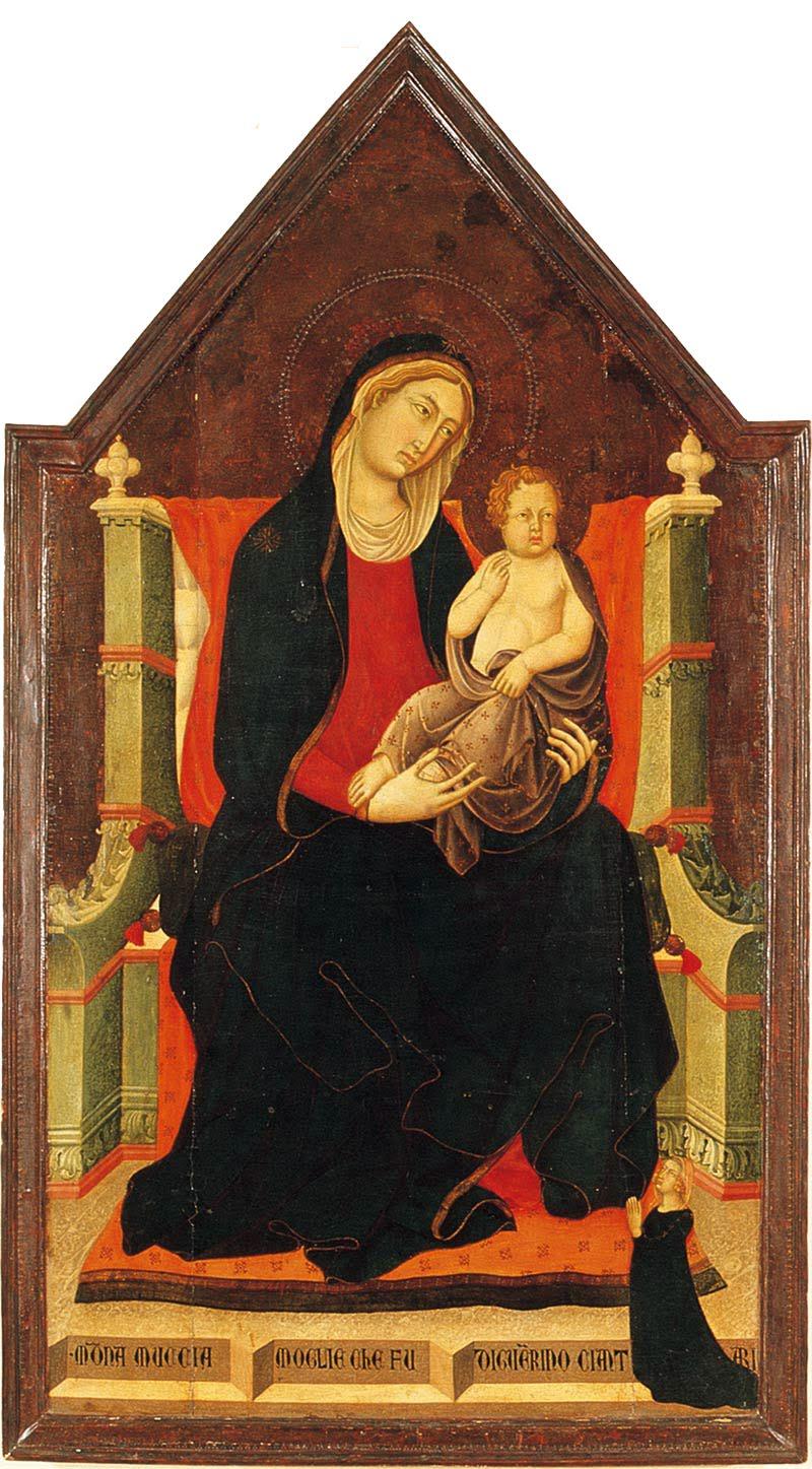 Niccolò e Francesco di Segna, Madonna in trono col Bambino e donatrice, Museo Comunale, Lucignano