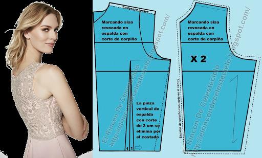 Corpiño espalda con corte en el centro sin pinza vertical para tela de encaje licrada