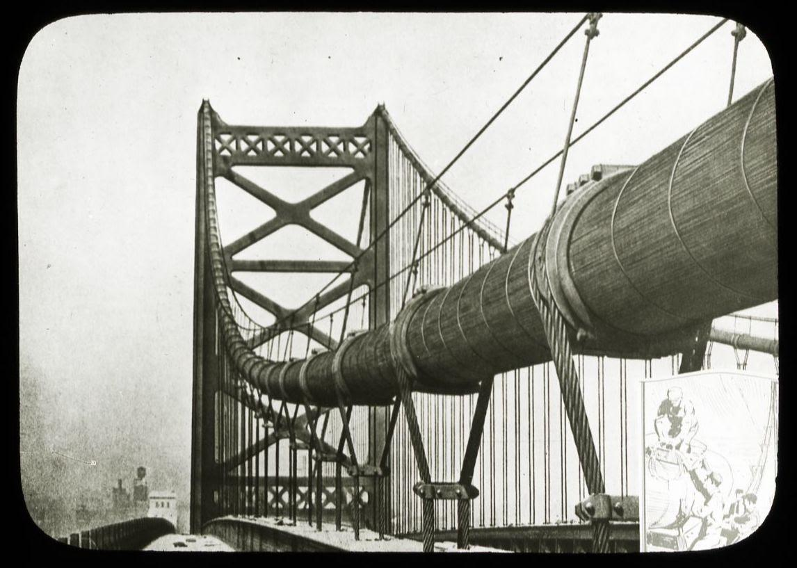 Lantern slide photograph of the Benjamin Franklin Bridge Under Construction, Wagner Free Institute of Science.