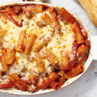 Baked Sausage and Pepper Pasta With Mozzarella and Provolone.