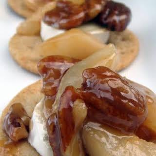 Brie with Caramel-Pecan & Pear Sauce.