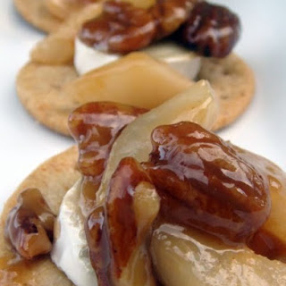 Brie with Caramel-Pecan & Pear Sauce.