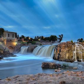 Scenic South Dakota by Mike Lennett - Landscapes Waterscapes ( waterfall, south dakota, long exposure, mike lennett, sioux falls, big sioux river, river )