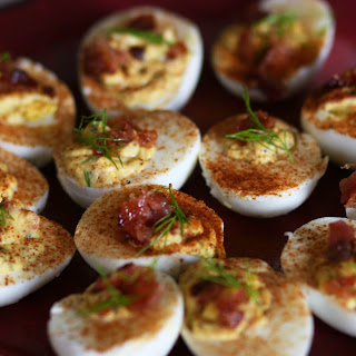 Deviled Eggs with Candied Bacon.