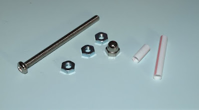 """Photo: You will also need:  1 - 3/16"""" x 3"""" machine screw 3 - 3/16"""" nuts 1 - 3/16"""" cap nut and a drinking stray cut into 2 pieces (I'll tell you the measurements later.)"""