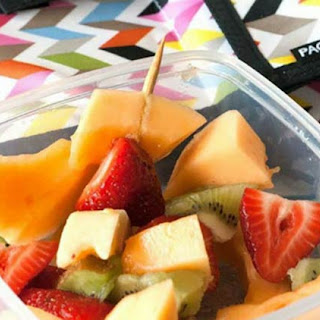 Honey Almond Greek Yogurt with Fruit Kabobs for Back to School