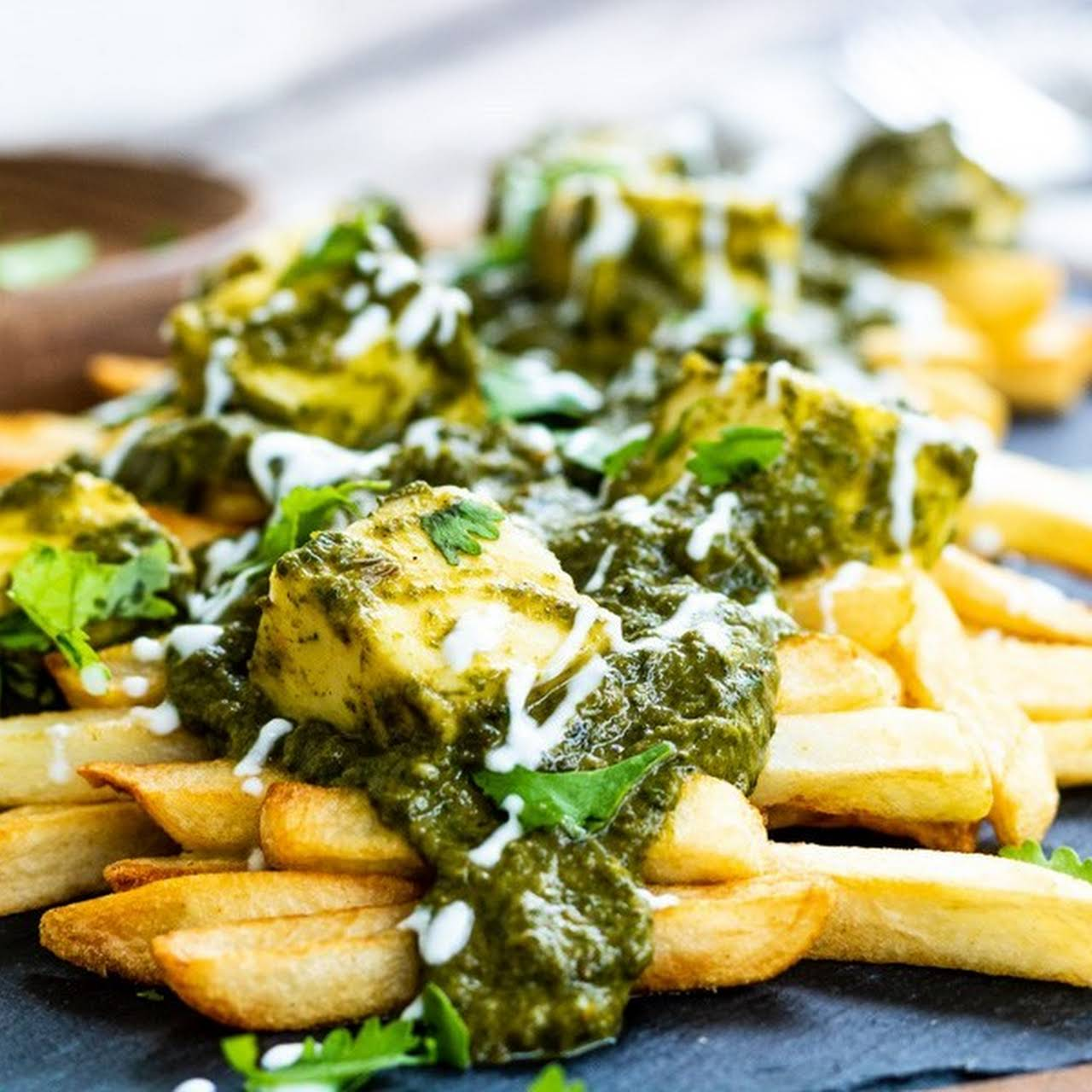 Palak Paneer Loaded French Fries