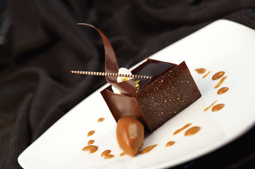 Chocolate tiramisu mascarpone cream and espresso gelato, part of Chocolate Journeys on Princess Cruises.