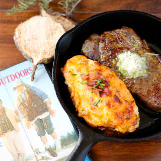 Steaks with Leek Compound Butter and Twice Baked Pimento Cheese Potatoes.