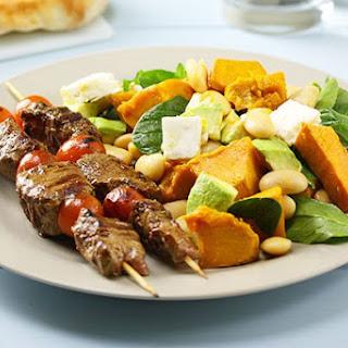 Lamb Kebabs with Pumpkin & Spinach Salad