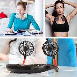 Ventilator dublu, portabil, Handsfree, Negru