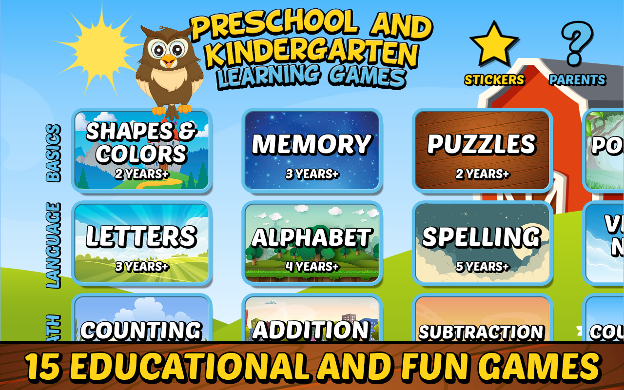 preschool and kindergarten learning games se android apps on