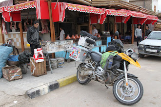 Photo: Roadside lunch stop. Fresh meat from the butcher, a tagine and mint tea, does it get any better?