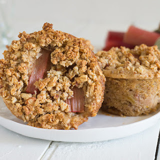 Roasted Rhubarb Muffins with Granola Crunch Topping