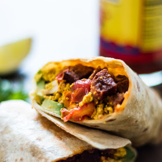 Spicy Sausage and Tofu Breakfast Burrito.