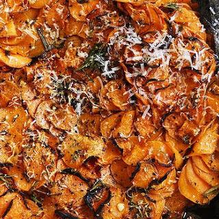Sweet Potato, Garlic And Rosemary Gratin