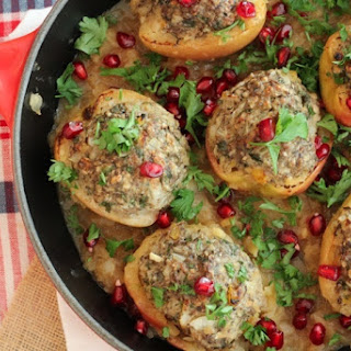 Gluten Free Poached Apples with Turkey Stuffing and Pomegranate