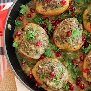 Gluten Free Poached Apples with Turkey Stuffing and Pomegranate.